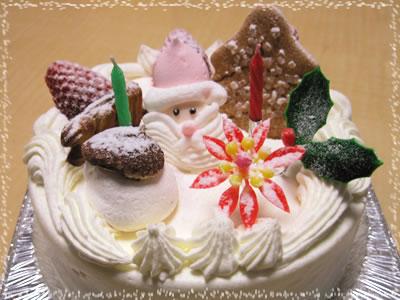 三軒茶屋アーモンド洋菓子店「クリスマスケーキ」:生クリーム5号(15cm)【ご来店受渡し】