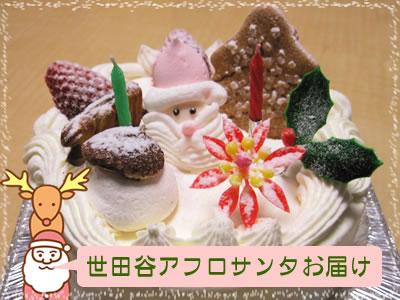 【世田谷区内限定:お届け無料】サンタがお届け!クリスマスケーキ:生クリーム5号(15cm)