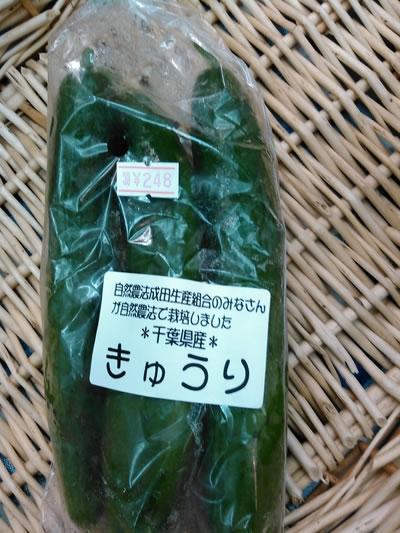 中村さんのきゅうり【3本/千葉県産-自然農法成田生産組合】