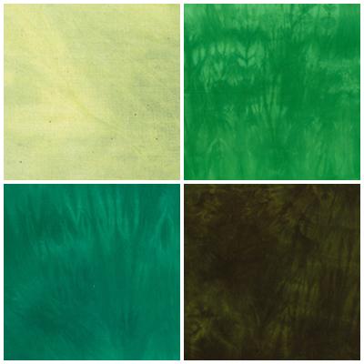むら染め布 カットクロス50cm×50cm(緑/Green8)ハワイアンキルト・ステンドキルト・パッチワーク