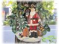 【SALE/輸入雑貨/クリスマス雑貨】ビッグブリキリースサンタ/サイズ:直径65cm