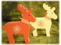 【輸入雑貨/クリスマス雑貨】木製トナカイ 赤