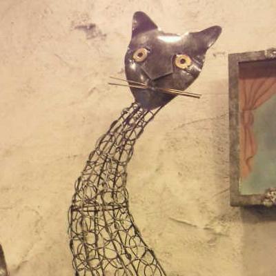 【雑貨/インテリア】アイアン猫置物
