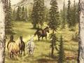【雑貨/輸入生地】パネル/P-26 森を走る馬 サイズ:60cm×110cm