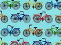 【雑貨/輸入生地/ROBERT KAUFMAN(ロバートカフマン)】USAコットン H-69/COLORFUL Bicycle カットクロス50cm×55cm