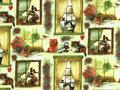 【雑貨/輸入生地/SPX Fabrics】窓辺の子猫/h92 カットクロス50cm×55cm