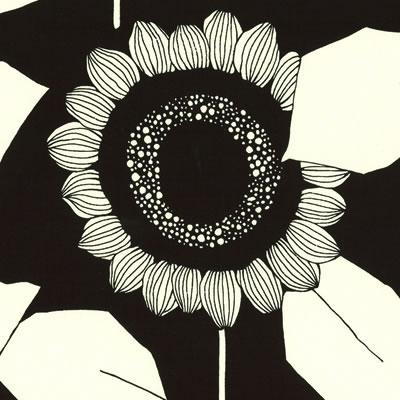 【雑貨/USAコットン/YUWA】中原淳一シリーズ ひまわり ブラック・生成り系 /HH−19 1mカット(巾112cm)