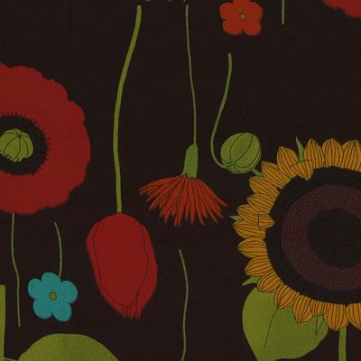 【雑貨/USAコットン/YUWA】中原淳一シリーズ ガーデン ブラック系/HH−21 1mカット(巾112cm)