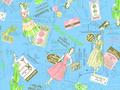 【雑貨/USAコットン/YUWA】小関鈴子デザインプリント/U-343 カットクロス50cm×55cm