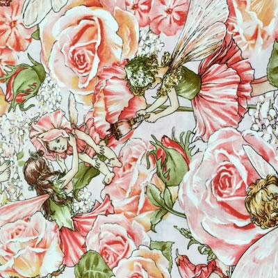 【雑貨/USAコットン/妖精】バラの妖精 /H-106 カットクロス50cm×55cm