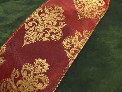 【輸入雑貨/クリスマス雑貨/リボン】クリスマス用リボン/幅6センチ×長さ10ヤード
