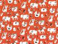 【雑貨/国産プリント/アニマル柄】U-387/かわいい動物たち カットクロス50cm×55cm