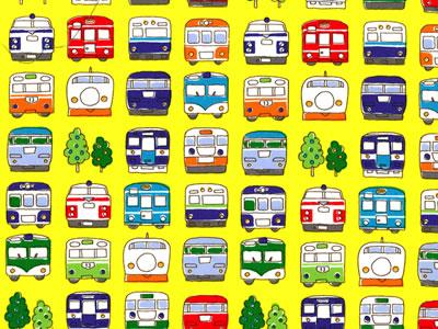 【雑貨/国産プリント/鉄道】U-389/電車がいっぱい カットクロス50cm×55cm