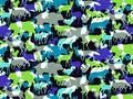 【雑貨/国産プリント/アニマル柄】U-390/夜の動物たち カットクロス50cm×55cm