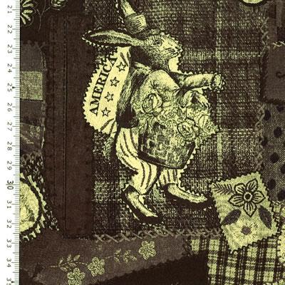 【雑貨/国産プリント/YUWA】HH-67/アリスのウサギ カットクロス50cm×55cm