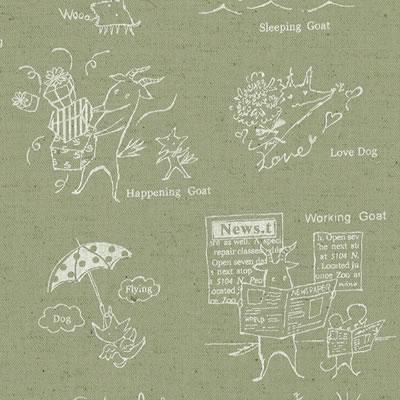 【雑貨/国産プリント/ルシアン】H-109/ヤギと犬の楽しい毎日 カットクロス50cm×55cm