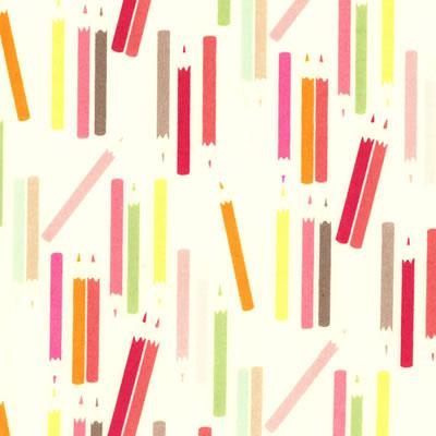 【雑貨/USAコットン/ALEXANDER(アレキサンダー)】U-414/my pencils えんぴつ柄 カットクロス50cm×55cm