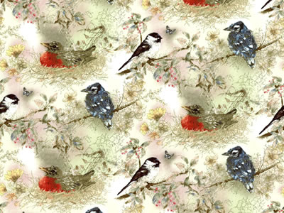 【雑貨/USAコットン/SPX fabrics】HH-72/小鳥のさえずり カットクロス50cm×55cm