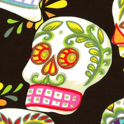 【雑貨/USAコットン/ALEXANDER HENRY(アレキサンダーヘンリー)】H-115/スカル Calaveras(skulls) 50cm×55cm