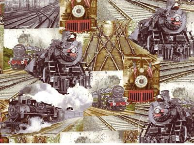 【雑貨/USAコットン/BENARTEX(ベナテックス)】HH-84/特急列車 Railway Express カットクロス50cm×55cm