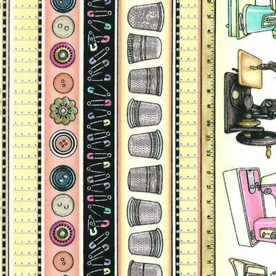 【雑貨/USAコットン/キルティングトレジャー】HH-85/お裁縫 カットクロス50cm×55cm