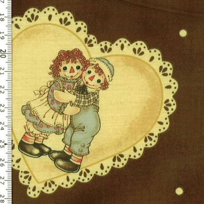 【雑貨/国産プリント/ルシアン】U-437/アンとアンディ(Raggedy Ann&Andy) カットクロス50cm×55cm