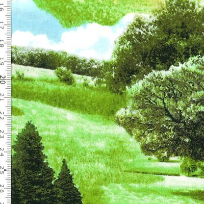 【雑貨/USAコットン/キルティングトレジャー】HH-91/緑のまきば 50cm×55cm