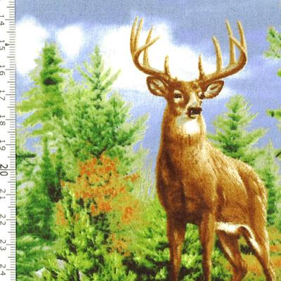 【雑貨/USAコットン/キルティングトレジャー】HH-92/鹿の親子 50cm×55cm
