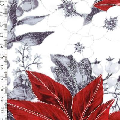 【雑貨/USAコットン/HOFFMAN(ホフマン)】C-92/赤いポインセチア 50cm×55cm