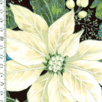 【雑貨/USAコットン/HOFFMAN(ホフマン)】C-93/白いポインセチア 50cm×55cm