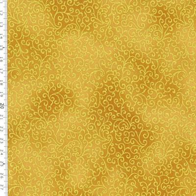 【雑貨/USAコットン/HOFFMAN(ホフマン)】C-95/唐草模様(ゴールド) 50cm×55cm