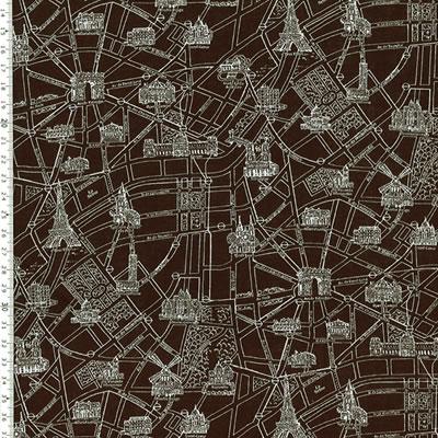 【雑貨/国産プリント/ルシアン】U-446/パリの地図 50cm×55cm