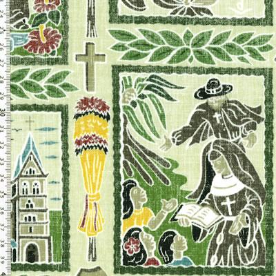 【雑貨/USAコットン/トリ・リチャード(Tori Richard)】U-450/ハワイの教会 50cm×55cm