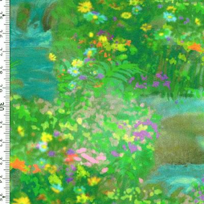 【雑貨/USAコットン/キルティングトレジャー】HHH-25/春の小川 50cm×55cm