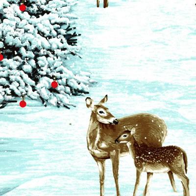 【雑貨/USAコットン/パネル/RJR】P-71/雪降る森 サイズ:60cm×110cm