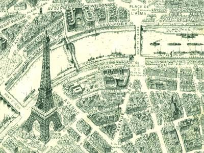 【雑貨/USAコットン/ウィンダムファブリックス(Windham Fabrics)】HH-101/パリの地図 1ヤード(幅112cm)