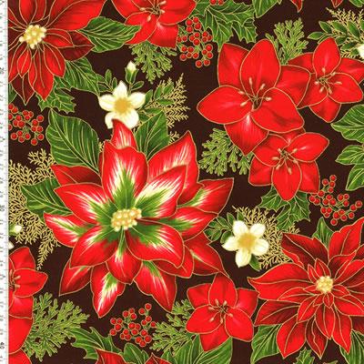 【雑貨/クリスマス/ROBERT KAUFMAN(ロバートカフマン)】C-121/ポインセチア 50cm×55cm