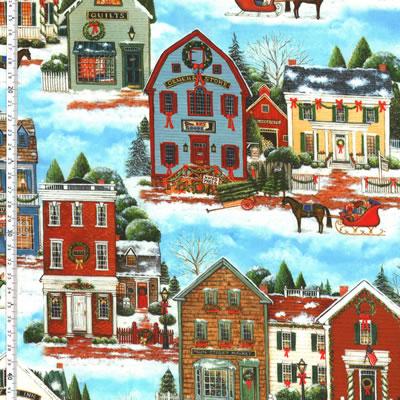 【雑貨/USAコットン/Quilting Treasures】HH-102/クリスマスの町並み 50cm×55cm