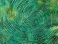 【雑貨/USAコットン/バティック】HHH-40/Spiral Moss Green 50cm×55cm