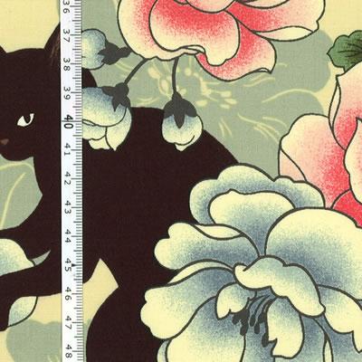 【雑貨/USAコットン/キルトゲイト】U-497/CAT&FLOWER 50cm×55cm