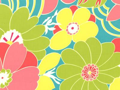 【雑貨/USAコットン】U-502/Tropical Flowers 50cm×55cm