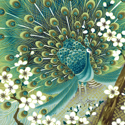 【雑貨/パネル/kona boy】P-85/孔雀(peacock) サイズ:60cm×110cm