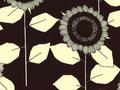 【雑貨/USAコットン/中原淳一シリーズ】HH-105/ひまわり WhiteXBlack 50cm×55cm