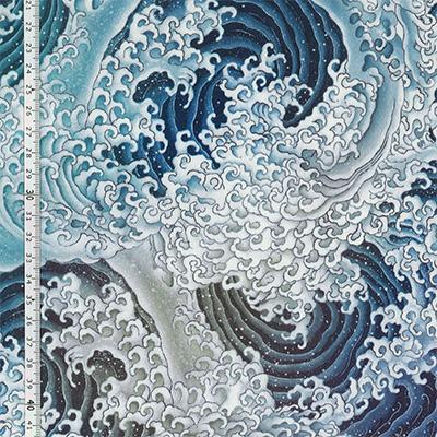 【雑貨/USAコットン/デジタルプリント】HHH-57/激しく渦巻く波 50cm×55cm