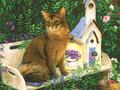 【雑貨/USAコットン/デジタルプリント】HHH-58/CAT HOUSE 50cm×55cm