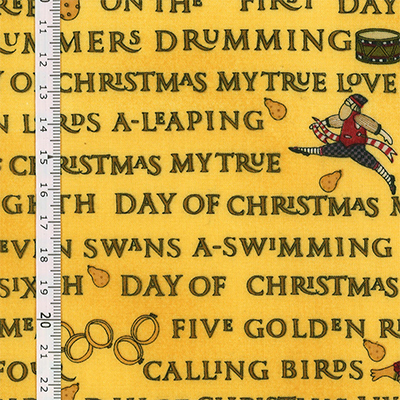 【雑貨/USAコットン/クリスマス/DEBBIE MUMM】C-137/DAY OF CHRISTMAS MY TRUE 50cm×55cm