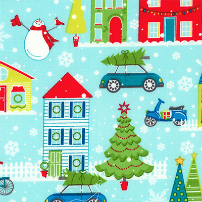 【雑貨/USAコットン/クリスマス/BENAR TAX】C-138/クリスマスの街並み 50cm×55cm