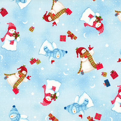 【雑貨/USAコットン/クリスマス/Red RooSter】C-140/あったかスノーウーマン 50cm×55cm