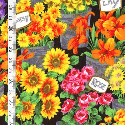 【雑貨/USAコットン/Andover Fabrics】U-519/花屋の店先に並んだ   50cm×55cm
