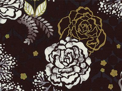 【雑貨/USAコットン/ROBERT KAUFMAN】U-521/White & Gold Roses   50cm×55cm